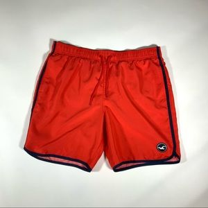 Hollister Swim Trunks Orange and Navy Size L EUC